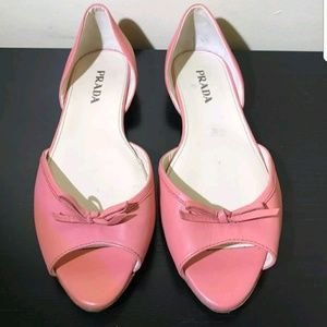 PRADA Pink Leather Open Peep Toe Bows Ballet Flats